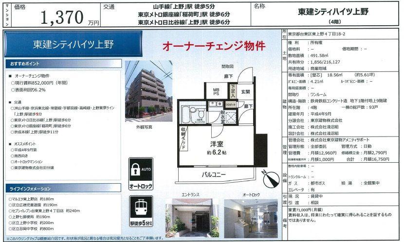 販賣圖:東建シティハイツ上野