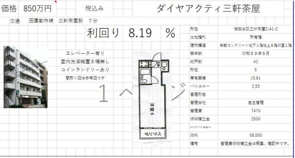 販賣圖:ダイヤアクティ三軒茶屋