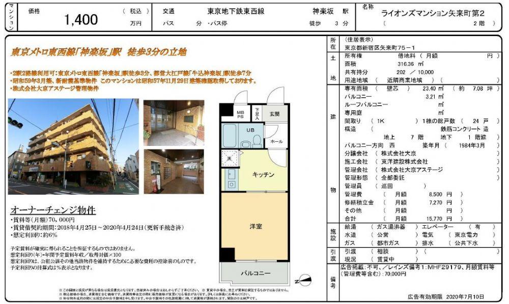 販賣圖:ライオンズマンション矢来町第2