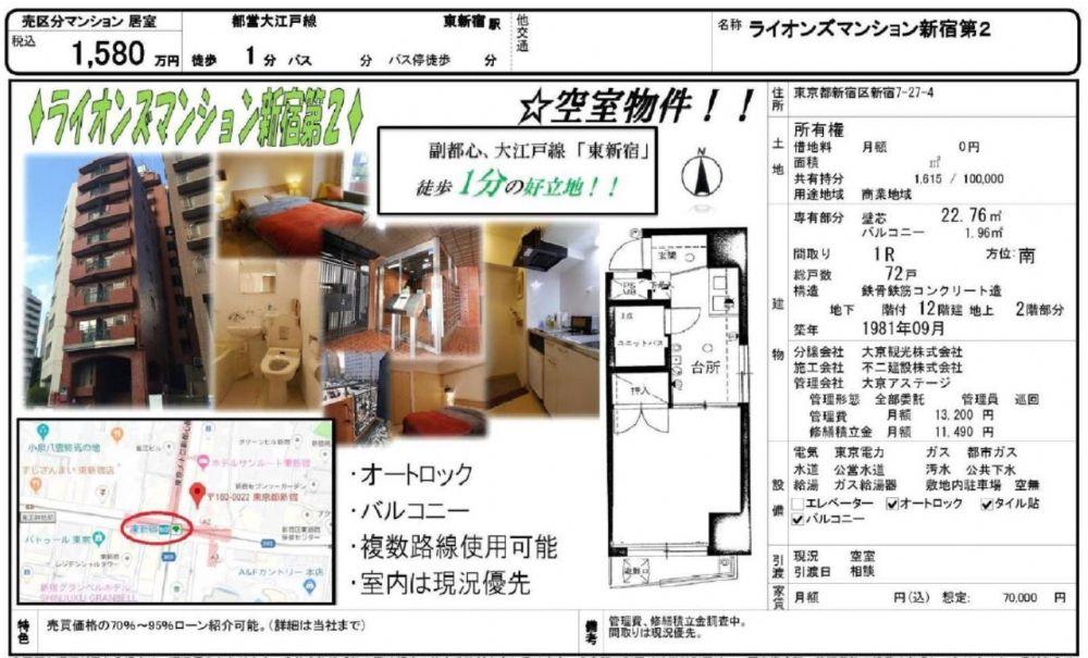 販賣圖:ライオンズマンション新宿第2