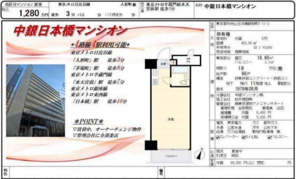 販賣圖:中銀日本橋マンシオン